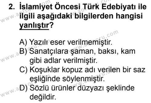 Türk Edebiyatı 3 Dersi 2016 - 2017 Yılı 1. Dönem Sınavı 2. Soru
