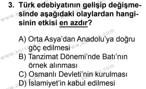 Türk Edebiyatı 3 Dersi 2016 - 2017 Yılı 1. Dönem Sınavı 3. Soru