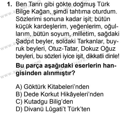 Türk Edebiyatı 3 Dersi 2017 - 2018 Yılı 1. Dönem Sınavı 1. Soru