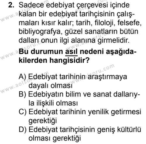 Türk Edebiyatı 3 Dersi 2017 - 2018 Yılı 1. Dönem Sınavı 2. Soru