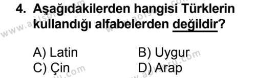 Türk Edebiyatı 3 Dersi 2017 - 2018 Yılı 1. Dönem Sınavı 4. Soru