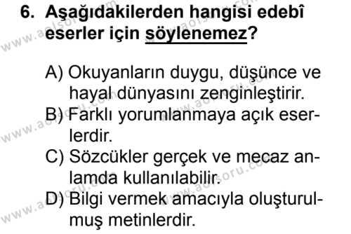 Türk Edebiyatı 3 Dersi 2017-2018 Yılı 1. Dönem Sınavı 6. Soru