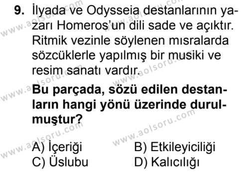 Türk Edebiyatı 3 Dersi 2017-2018 Yılı 1. Dönem Sınavı 9. Soru