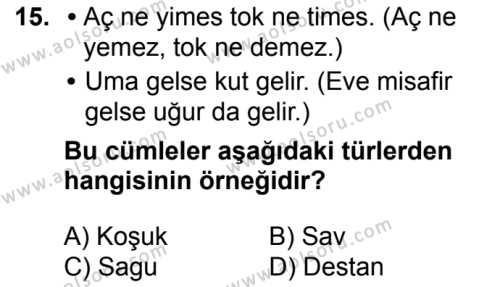 Türk Edebiyatı 3 Dersi 2017-2018 Yılı 1. Dönem Sınavı 15. Soru