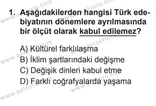 Türk Edebiyatı 3 Dersi 2017 - 2018 Yılı 3. Dönem Sınavı 1. Soru