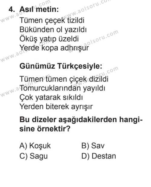Türk Edebiyatı 3 Dersi 2017 - 2018 Yılı 3. Dönem Sınavı 4. Soru