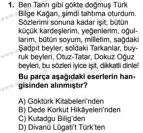 Türk Edebiyatı 3 Dersi 2017 - 2018 Yılı Ek Sınavı 1. Soru