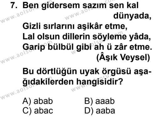 Türk Edebiyatı 4 Dersi 2011-2012 Yılı 1. Dönem Sınavı 7. Soru