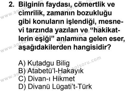 Türk Edebiyatı 4 Dersi 2011 - 2012 Yılı Ek Sınavı 2. Soru
