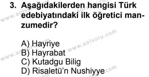 Türk Edebiyatı 4 Dersi 2011 - 2012 Yılı Ek Sınav Soruları 3. Soru