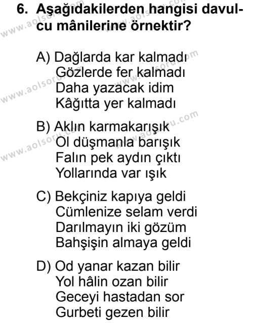 Türk Edebiyatı 4 Dersi 2012-2013 Yılı 1. Dönem Sınavı 6. Soru