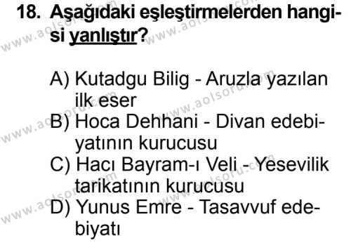 Türk Edebiyatı 4 Dersi 2014-2015 Yılı 1. Dönem Sınavı 18. Soru