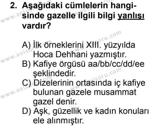 Türk Edebiyatı 4 Dersi 2014 - 2015 Yılı Ek Sınav Soruları 2. Soru