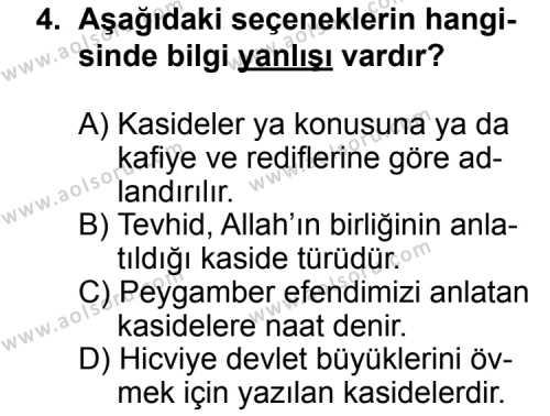 Türk Edebiyatı 4 Dersi 2014 - 2015 Yılı Ek Sınav Soruları 4. Soru