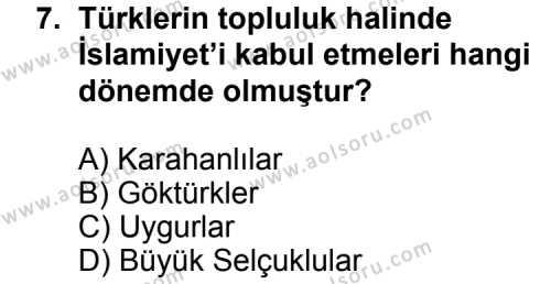 Türk Edebiyatı 4 Dersi 2015-2016 Yılı 1. Dönem Sınavı 7. Soru