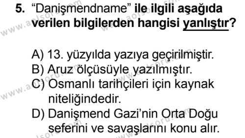Türk Edebiyatı 4 Dersi 2016-2017 Yılı 1. Dönem Sınavı 5. Soru