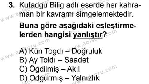 Türk Edebiyatı 4 Dersi 2017-2018 Yılı 1. Dönem Sınavı 3. Soru