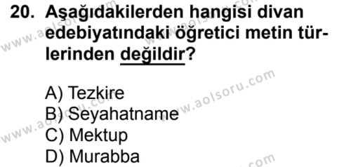 Türk Edebiyatı 4 Dersi 2017-2018 Yılı 1. Dönem Sınavı 20. Soru