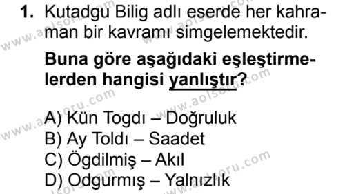 Türk Edebiyatı 4 Dersi 2017 - 2018 Yılı Ek Sınavı 1. Soru