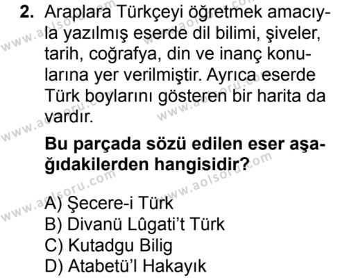 Türk Edebiyatı 4 Dersi 2017 - 2018 Yılı Ek Sınavı 2. Soru