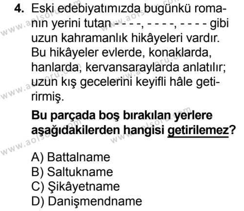 Türk Edebiyatı 4 Dersi 2017 - 2018 Yılı Ek Sınavı 4. Soru