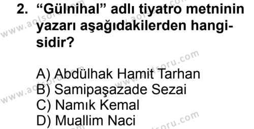 Türk Edebiyatı 5 Dersi 2011-2012 Yılı 1. Dönem Sınavı 2. Soru