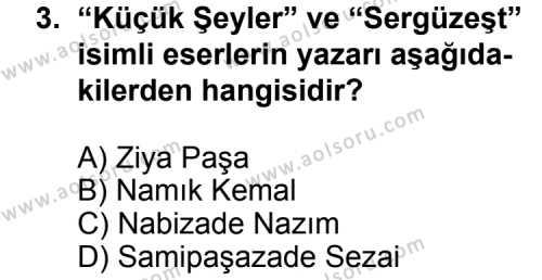 Türk Edebiyatı 5 Dersi 2011-2012 Yılı 1. Dönem Sınavı 3. Soru