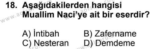 Türk Edebiyatı 5 Dersi 2011-2012 Yılı 1. Dönem Sınavı 18. Soru