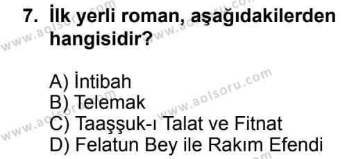 Türk Edebiyatı 5 Dersi 2012-2013 Yılı 1. Dönem Sınavı 7. Soru