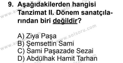 Türk Edebiyatı 5 Dersi 2012-2013 Yılı 1. Dönem Sınavı 9. Soru