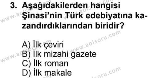 Türk Edebiyatı 5 Dersi 2012 - 2013 Yılı Ek Sınav Soruları 3. Soru