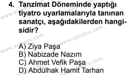 Türk Edebiyatı 5 Dersi 2012 - 2013 Yılı Ek Sınav Soruları 4. Soru