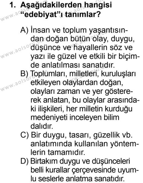 Türk Edebiyatı 5 Dersi 2013 - 2014 Yılı 3. Dönem Sınav Soruları 1. Soru