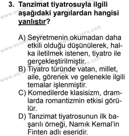 Türk Edebiyatı 5 Dersi 2013 - 2014 Yılı 3. Dönem Sınav Soruları 3. Soru