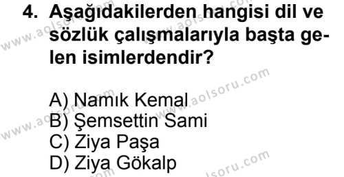 Türk Edebiyatı 5 Dersi 2013 - 2014 Yılı 3. Dönem Sınavı 4. Soru