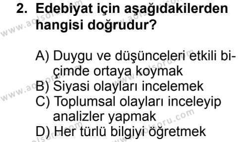 Türk Edebiyatı 5 Dersi 2014-2015 Yılı 1. Dönem Sınavı 2. Soru