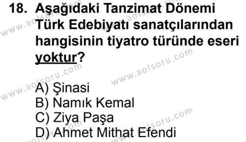 Türk Edebiyatı 5 Dersi 2014-2015 Yılı 1. Dönem Sınavı 18. Soru