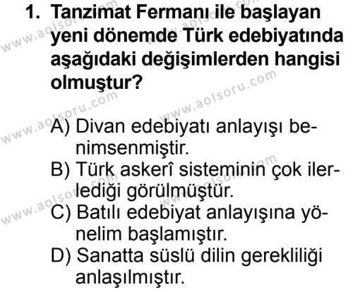 Türk Edebiyatı 5 Dersi 2014 - 2015 Yılı Ek Sınav Soruları 1. Soru