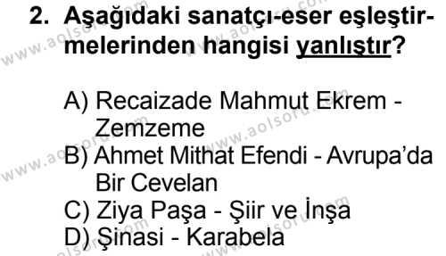 Türk Edebiyatı 5 Dersi 2014 - 2015 Yılı Ek Sınav Soruları 2. Soru