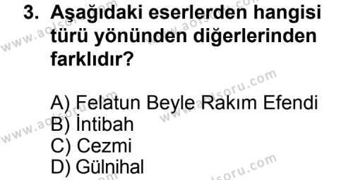 Türk Edebiyatı 5 Dersi 2014 - 2015 Yılı Ek Sınav Soruları 3. Soru