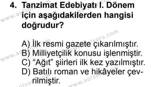 Türk Edebiyatı 5 Dersi 2014 - 2015 Yılı Ek Sınav Soruları 4. Soru