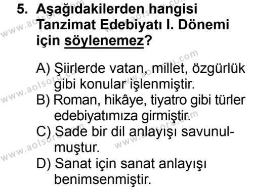 Türk Edebiyatı 5 Dersi 2015-2016 Yılı 1. Dönem Sınavı 5. Soru