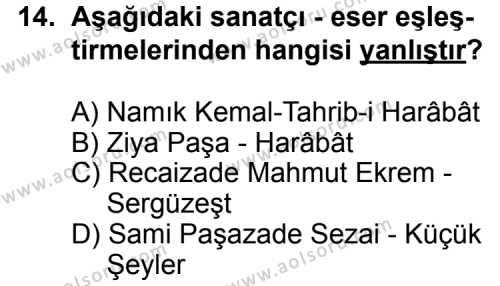 Türk Edebiyatı 5 Dersi 2015-2016 Yılı 1. Dönem Sınavı 14. Soru