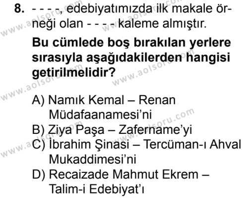 Türk Edebiyatı 5 Dersi 2016-2017 Yılı 1. Dönem Sınavı 8. Soru