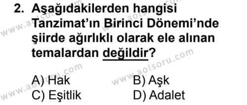 Türk Edebiyatı 5 Dersi 2017 - 2018 Yılı 2. Dönem Sınavı 2. Soru