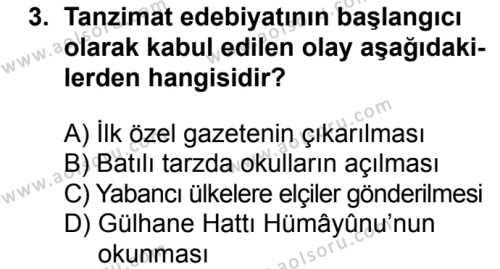 Türk Edebiyatı 5 Dersi 2017 - 2018 Yılı 2. Dönem Sınavı 3. Soru