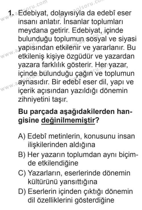 Türk Edebiyatı 5 Dersi 2017 - 2018 Yılı 3. Dönem Sınavı 1. Soru
