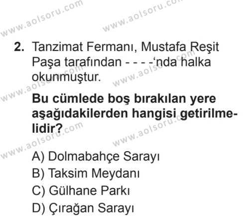 Türk Edebiyatı 5 Dersi 2017 - 2018 Yılı 3. Dönem Sınavı 2. Soru