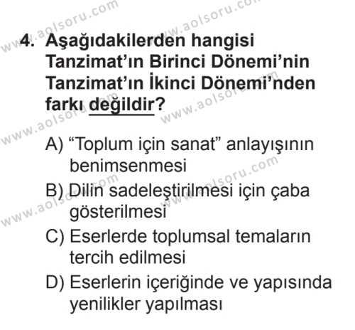 Türk Edebiyatı 5 Dersi 2017 - 2018 Yılı 3. Dönem Sınavı 4. Soru