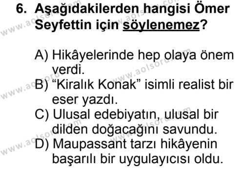 Türk Edebiyatı 6 Dersi 2011-2012 Yılı 1. Dönem Sınavı 6. Soru